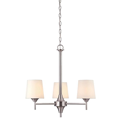 Interior Light 3 Chandelier (Westinghouse Lighting 6225500 Parker Mews Three-Light Interior Chandelier, Brushed Nickel Finish with White Linen Fabric Shades, 23.13
