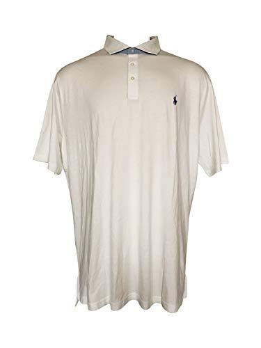 Ralph Lauren Polo Golf Short Sleeve Pima Cotton Polo Shirt (White/Blue Pony, XX-Large)