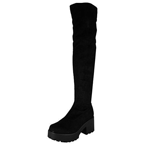 Nouveau Faux Suède Bout Rond Dames De La Femme Sur Les Bottes De Travail Genou Chaussures Cloutées Tailles 3-8 Noir