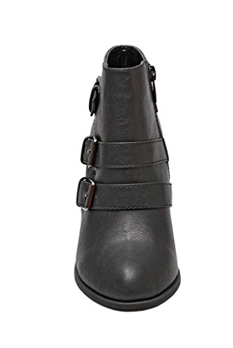 Forever Womens Buckle Strap Block Heel Ankle Booties Ankle Bootie