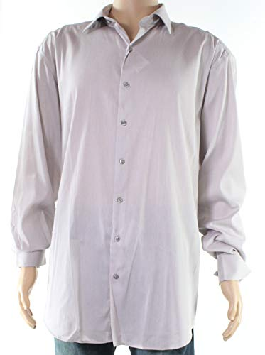 Alfani White Mens Micro-Striped Dress Shirt