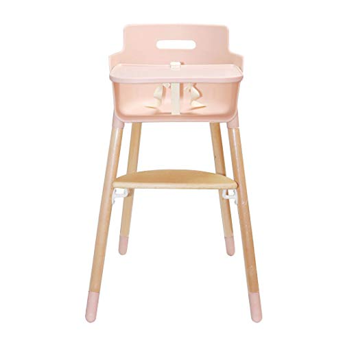 Asunflower Wooden High Chair Adjustable Feeding Baby Highchairs Solution with Tray as Dining Chair for Baby Girls, Table Height