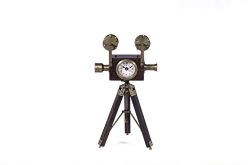 blue city crafts Projector Style Clock with Tripod Antique Vintage Look Brass and Wooden