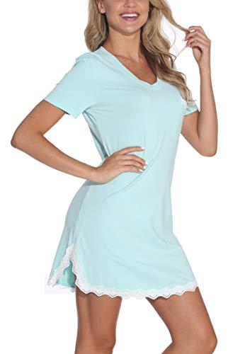 GUANYY Sleepwear Womens Nightgown Cotton Sleep Shirt Dress Short Sleeve Lace V Neck Trim Soft Nightshirt(Sapphire,Small)
