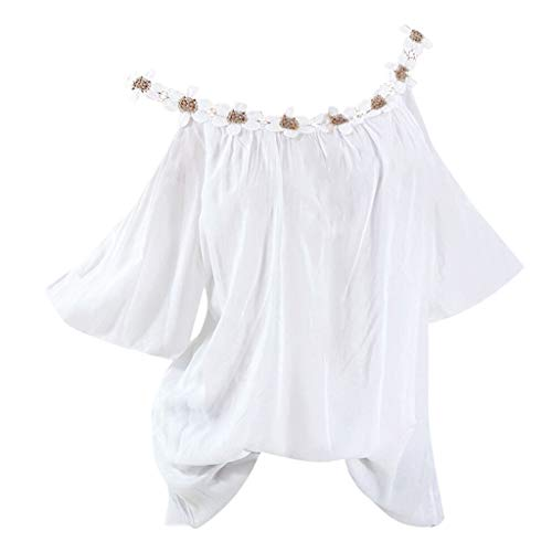 DAYPLAY Womens Tops Plus Size Strapless Lace Short Sleeve Tee Shirts Loose Fit Tunic Ladies T Shirt Blouses Clothes Sale -