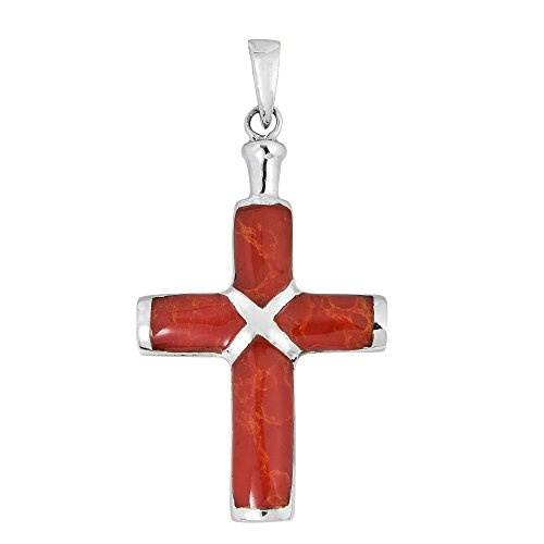 AeraVida Christian Cross Reconstructed Red Coral Inlay .925 Sterling Silver Pendant