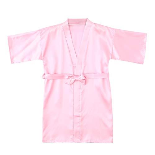 VEFSU Toddler Baby Kids Girls Solid Silk Satin Kimono Robes Bathrobe Kids Wrap Sleepwear Clothes Pink 2-3 Years