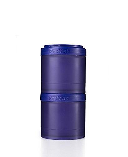 BlenderBottle ProStak Twist n Lock Storage Jars Expansion 2-Pak with Pill Tray, Purple