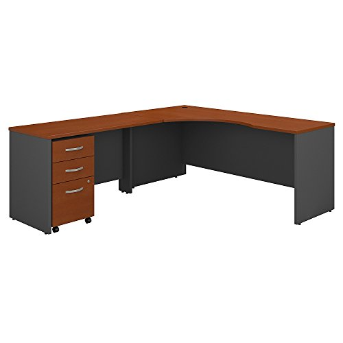 - Bush Business Furniture Series C 72W Left Handed Corner Desk with 48W Return and Mobile File Cabinet in Auburn Maple