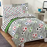 Dream Factory Soccer Comforter Set with Sheets twin//twin xl bed in a bag