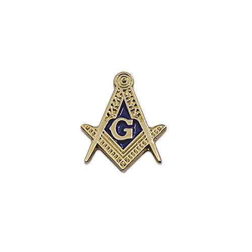 Square & Compass Blue & Gold Masonic Lapel Pin - 5/8