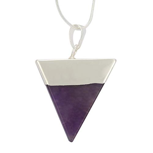 Natural Amethyst Necklace Healing Crystal Reiki Chakra Triangle Cut 18-20 Inch Gemstone Pendant Necklace (1pc) Great Gift #GGP-A7