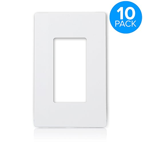 Maxxima 1 Gang Decorative Outlet Screwless Wall Plate, White, Single Outlet, Standard Size (Pack of 10)