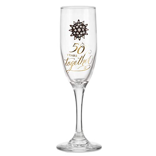50th Anniversary Clear 5 ounce Glass Metal Rhinestone Champagne Flute ()