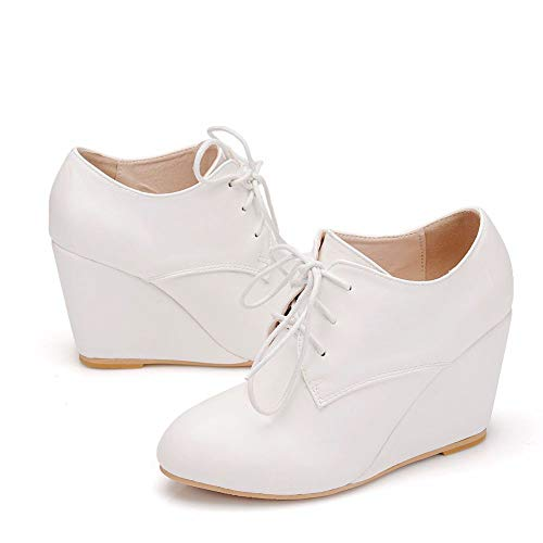 Women Ankle Boots Wedges Boots High Heel Boots Shoes Round Toe Lace Up White Boots for Women Bridal Wedding Boots (38 M EU / 7.5 B(M) US, White) ()