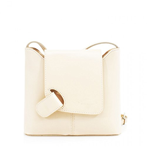 Genuine or Shoulder Pocket Brown Mini Multi Bag Handbag Vera Body Bag Leather Cross Italian Pelle Small Beige rqvzr4
