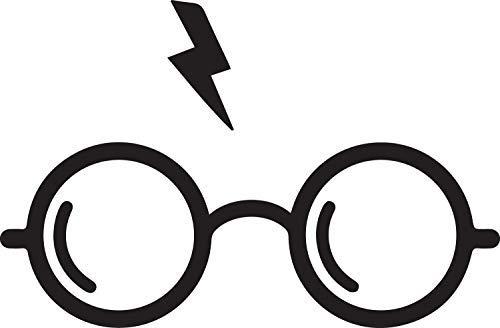 NBFU DECALS Potter Glasses (Black) (Set of 2) Premium Waterproof Vinyl Decal Stickers for Laptop Phone Accessory Helmet Car Window Bumper Mug Tuber Cup Door Wall Decoration
