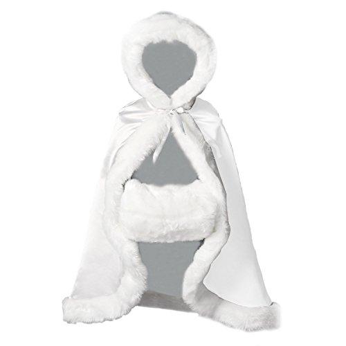 BEAUTELICATE Flower Girl Cape Winter Wedding Cloak for Infant Junior Bridesmaid Hooded Reversible White -