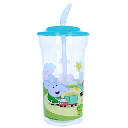 Karacter Corner Peppa Pig 16oz Sports Drink Cup with Attached Lid Straw -
