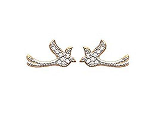 Boucles d'Oreilles en Plaqué Or et Oxyde de Zirconium - Oiseau avec Strass, Brillants Blanc - Bijoux Femme