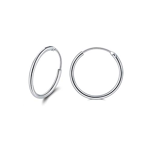 Sterling Silver Endless Circle Hoop Earrings For Women Girls 20mm