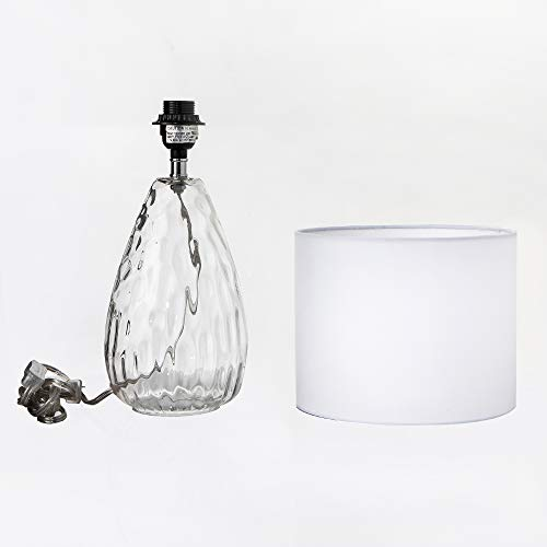 Wtape Modern Clear Glass Base Bedside Table Lamp White for Bedroom, Living Room, Kids Room, College Dorm, Coffee Table, Bookcase by Wtape (Image #6)