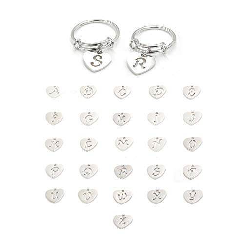 (FM FM42 Stainless Steel Initial Capital 26 Letters Heart Charm Expandable Wire Ring for Women (Letter J, Size 8) ZR1011-8)