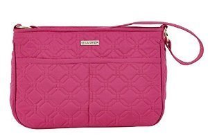Raspberry Rebel Microfiber Quilted Cotton Handbag with Zip Slip Pockets Nonadjustable Strap 8x11.5x3 Inches