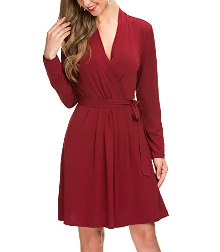 Le Vonfort Fit and Flare Dresses, Ladies Classical Basic Solid Draped Knee Length Homecoming Dress Wine Large