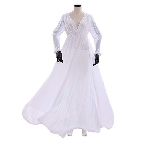 COUCOU Age Medieval Dress Chemise Long Victorian Nightgown Chiffon V-Neck Long Sleeves -