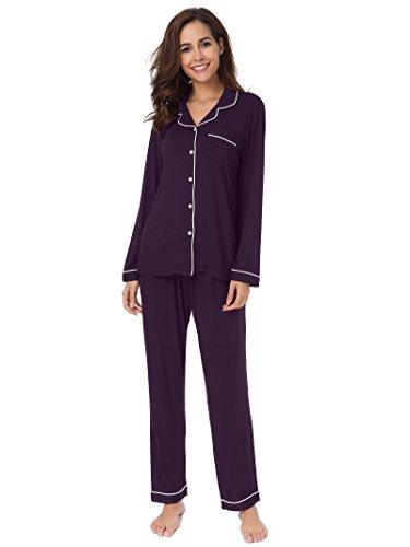 (SIORO Soft Pajamas for Women, Modal Short Sleeve Button Down Pajama Set Sleepwear,Eggplant with White Piping)