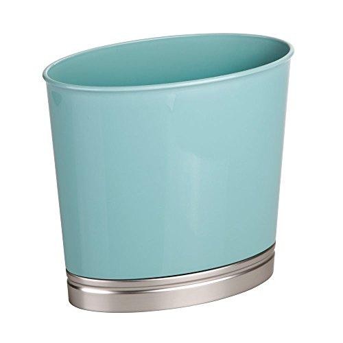 rash Bathroom, Kitchen, Office – Matte Seafoam/Brushed Nickel York Oval Waste Can ()