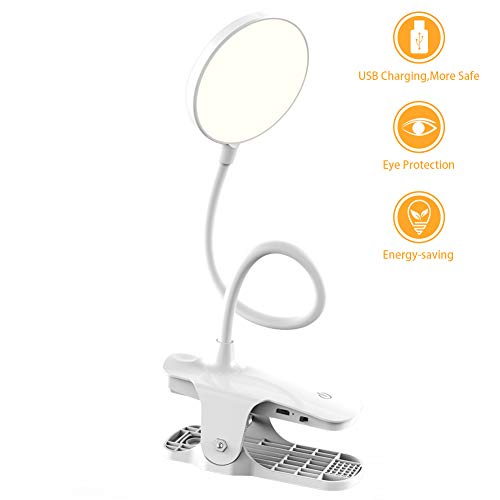 LED Clip On Reading Light,Rightaway Cordless&Portable Book Light 18 LEDs with 3 Brightness Levels USB Rechargeable,Eye Protection Brightness 2019 Updated Version for Home,School,Work,Outdoor,Kids,Bed