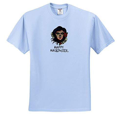Alexis Design - Holidays Halloween - Image of a Woman face. The Night of The Dead. Happy Halloween Text - T-Shirts - Toddler Light-Blue-T-Shirt (3T) (ts_292928_64)