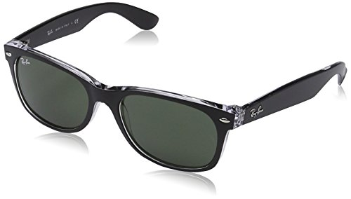 Mens New Wayfarer Square Sunglasses, TOP BLACK ON TRANSPARENT, 55 mm