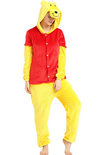 Indiefit Adults Onesie Pyjamas Flannel Animal Cosplay Costume Hoodie Sleepwear Nightgown Pooh bear-XL]()