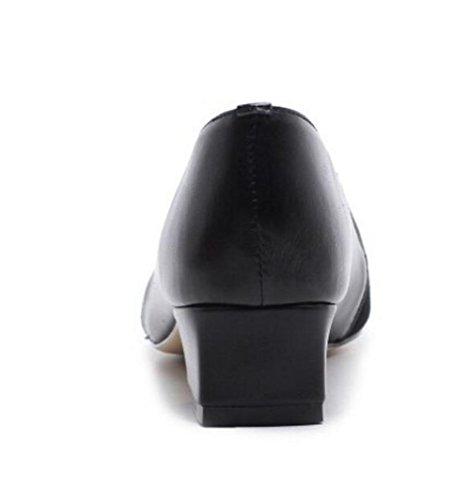 36 mocasines genuina Punta Retro 39 Black Oficina a mujer de Zapatos cuadrada o piel Tama qw8T4xP
