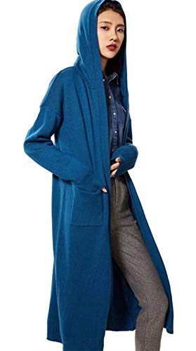 (Womens Sweater Coat Hooded Cardigan Cashmere Sweater Open Front Long Cardigan (One Size, Denim Blue))