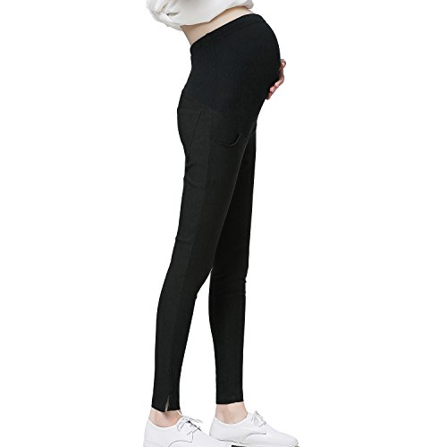 JOYNCLEON Pregnant Women Work Pants Stretchy Maternity Skinny Ankle Trousers Slim for Women (Label XXL = US 12-14 fit for Hip 38.6'', (Maternity Leggings)