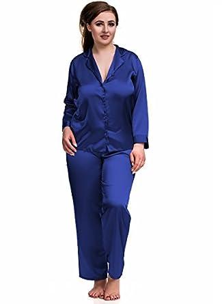 4147d459ecb0d lingerie0306 sexy PYJAMA SATIN Ensemble Bleu tailles 8 to 26 grande taille  chemise de nuit pyjama