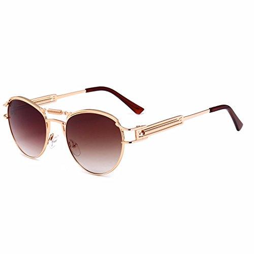 primavera de UV para punky Gafas Gafas sol montura polarizadas de deportivas para hombres protección de Gafas mujeres de sol Gafas un de estilo metálica Retro sol de conducc Marrón unisex de sol con ovaladas XxqF4x6w