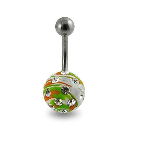 Bijou de Corps Anneau de nombril Perles de cristal multiples avec Boule peinte en couleur