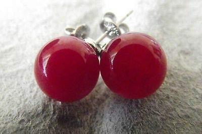 FidgetKute AAA New Beautiful 10MM Natural Round red Jade & Earrings ()