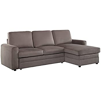 Homelegance 8211 Welty Sectional Sofa with with Reversible Chaise and Pull-Out Bed, Fossil