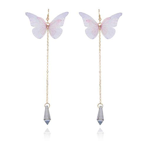(Jewelryamintra Women Girls Pink Butterfly Design Crystal Long Drop Dangling Stud Earrings)