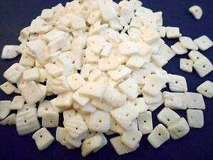 KARPP Bulk 1/2 lb (700) White Clam Chips Shell Loose Beads Drilled 13mm Crafts Jewelry - Beach Nautical décor