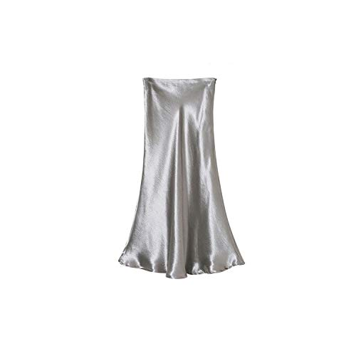 Glossy Satin - Summer Glossy Satin Trumpet high Waist Silver Gold Long Metallic Color Party Skirt,Silver,L