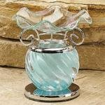 StealStreet Blue Spiral Decor Collectible Glass Oil Burner, Warmer Aromatherapy - incensecentral.us