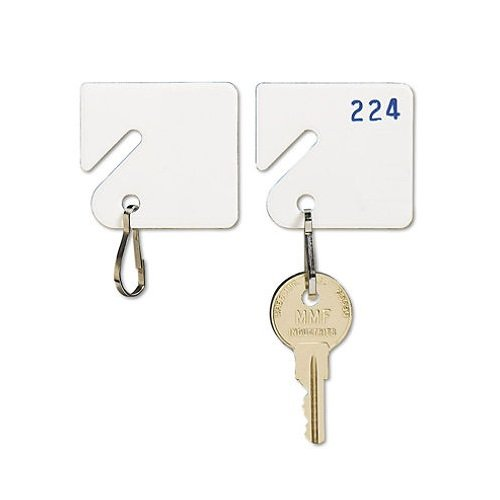 Tag Key Cabinet (MMF Industries Slotted Rack Key Tags, Plastic, 1.5 Inch Height, White, 20 per Pack (201300006), 4 Packs)