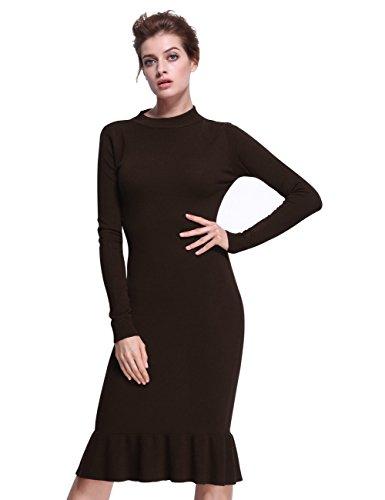 ninovino Women's Mock Neck Long Sleeve Mermaid Knit Sweater Dress Deep Coffee-L